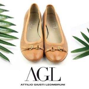AGL woven tan leather ballet flats size 38/8